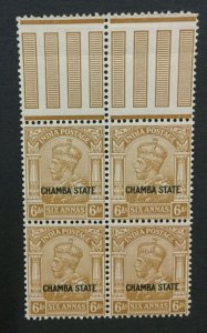 MOMEN: INDIA CHAMBA SG #72 BLOCK MINT OG NH LOT #193643-2345