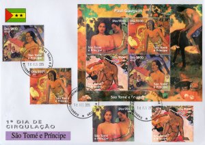 Sao Tome and Principe 2005 PAUL GAUGUIN FAMOUS NUDES PAINTINGS Set+Sheetlet FDC