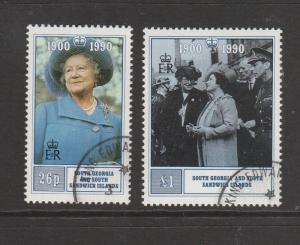 South Georgia 1990 Queen Mother 90th Birthday pair FU SG 195/6