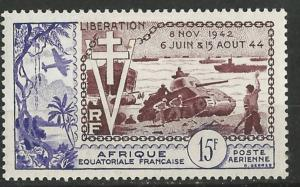 French Equatorial Africa # C38  W.W. II Liberation  (1)  Unused VLH
