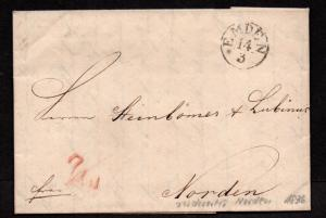 $German Stampless Cover, Emden-Norden (1836) 14. March