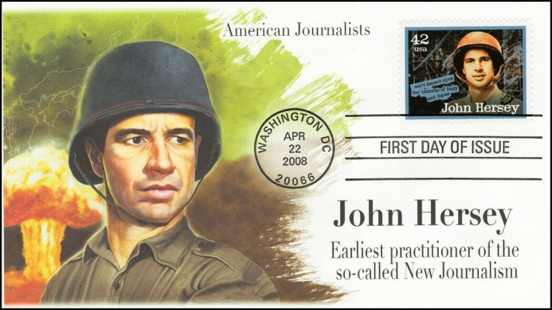 AO-4249, 2008, American Journalist, John Hersey, Add-on Cover, FDC, SC 4249