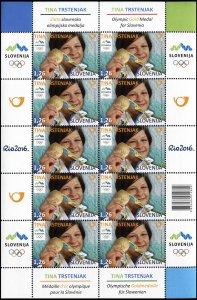 Slovenia. 2016. Slovene Olympic Medals – Tina Trstenjak (MNH OG) Miniature Sheet