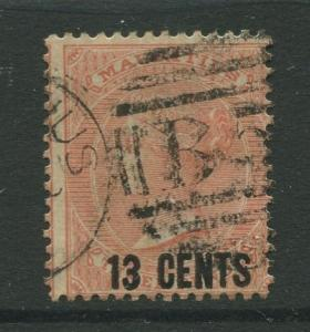 STAMP STATION PERTH: Mauritius #53 FU 1878  Single 13c on a 3p Stamp