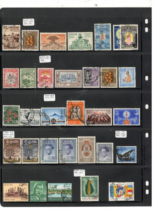 CEYLON COLLECTION ON STOCK SHEET MINT/USED