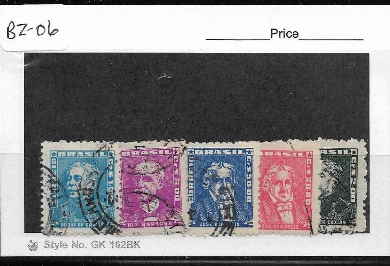 BRAZIL  BZ-06 SET OF 5 USED STAMPS