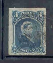 Newfoundland Sc39 1877 3 c Victoria stamp rouletted