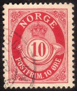 1894, Norway 10ö, Posthorn, Used, Sc 51d, VF/XF-88