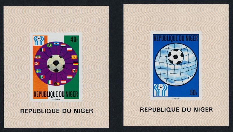 Niger 438-41 Proof Sheets MNH World Cup Soccer, Football. Flags