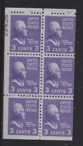 807a 1938 3c PRESIDENTIAL-  BOOKLET P #22436 (40% of #) MNH CV:* $9.00 - LOT 67