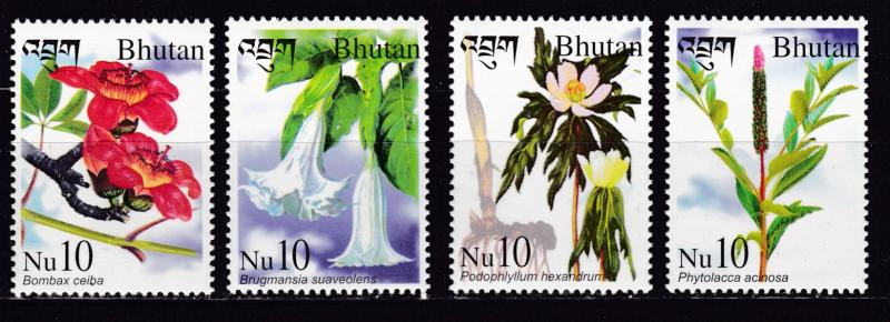 Bhutan 2002  Medicinal Plants complete (4) + Souvenir Sheet of 4  VF/NH
