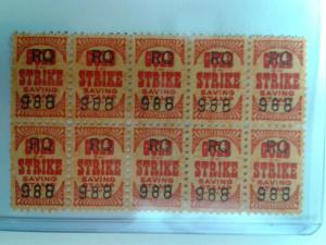 BACK OF BOOK GOLD STRIKE SAVINGS STAMPS 1957 BLOCK OF 10 MINT NEVER HINGED