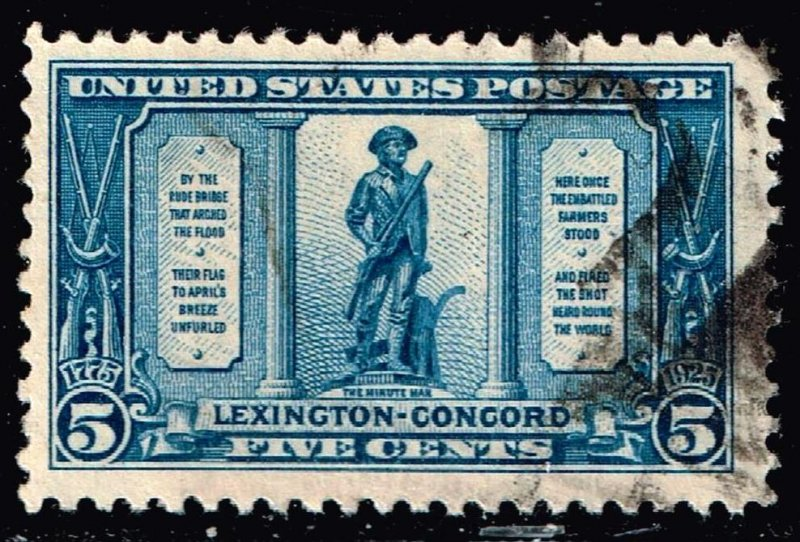 US STAMP #619 – 1925 5c Lexington-Concord Issue: The Minuteman USED