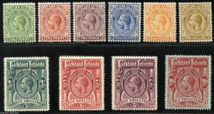 FALKLAND ISLANDS  SET SCOTT#30/39 SG#60/67,67b & 68 MINT LIGHT HINGED 10/ IS NH