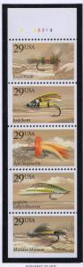 United States Sc 2549a 1991 Fishing Flies  stamp booklet pane mint NH