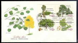 UNITED STATES FDC 15¢ Trees block 1978 Fleetwood