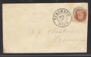 US #112 used on neat Tecumseh Mich cover