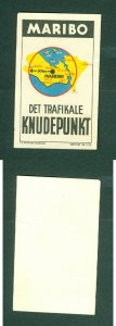 Denmark. Poster Stamp 1950s. Local.Town: Maribo. Map. Traffic,Junction Center.