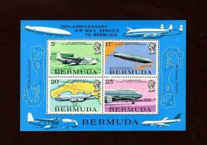 BERMUDA - 1975 - QE II - AIRCRAFT - AIRSHIP - AIRMAIL SERVICE - MINT NH S/SHEET!