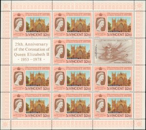 St. Vincent #528-531, Complete Set(4), Sheets of 10, 1978, Royalty, Never Hinged