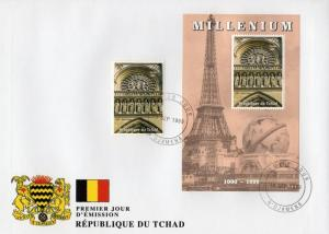 Chad 1999 MILLENNIUM NOTRE DAME DE PARIS set+s/s Perforated in Officiel FDC