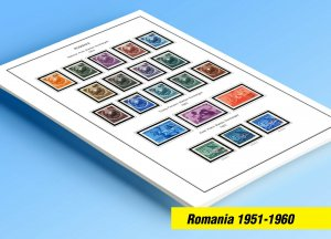 COLOR PRINTED ROMANIA 1951-1960 STAMP ALBUM PAGES (56 illustrated pages)