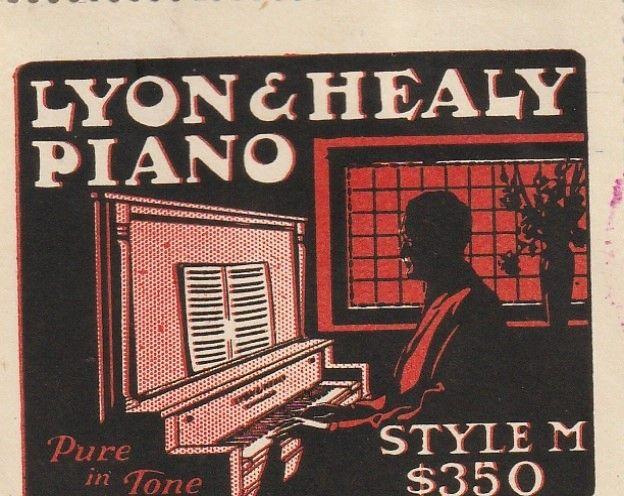 Great Lyon & Healy Piano, Chicago Poster Stamp  1920's
