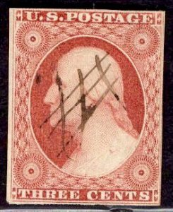 US Stamp #10A USED SCV $145. Four Frame Lines.