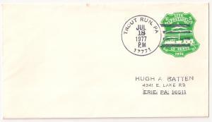 U582 with nice four bar Trout Run PA Jul 18 1977 postmark