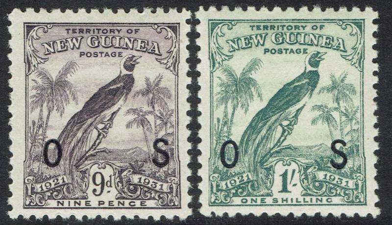 NEW GUINEA 1931 DATED BIRD OS 9D AND 1/-