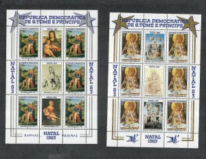St. Thomas+Prince Is Sc#707-708 M/NH/VF, 2 Sheets/6+3 Labels, Cv. $36