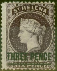 St Helena 1873 3d Dp Dull Purple SG12 Fine Very Lightly Mtd Mint