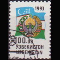 UZBEKISTAN 1993 - Scott# 34 Natl.Arms 100r CTO