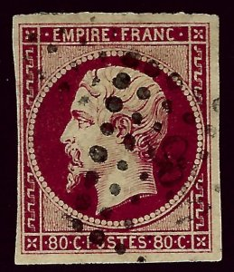 France Sc #19 Used VF hr SCV$82.50...French Stamps are Iconic!