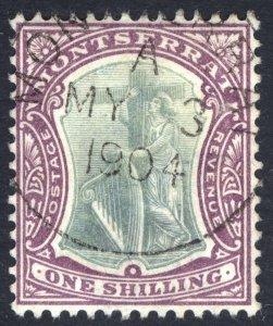 Montserrat 1903 1s Green & Purple Wmk Crown CA SG 20 Scott 18 VFU Cat £21($27)