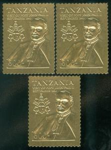 TANZANIA : 1990. Special Gold Foil 600 shilling value. Pope's Visit. 3 copies.