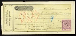 INDIA USED IN BURMA 1887 American Baptist Missionary Check w QV 1a Revenue