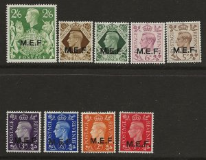 GREAT BRITAIN - MIDDLE EAST FORCES SC# 1-9  FVF/MOG 1942-3