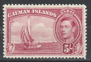 CAYMAN ISLANDS 1938 KGVI SCHOONER 5/-