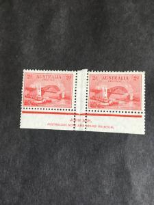 Australia Scott #130 Mint 1932 2p Sydney Harbour Bridge Gutter Pair With Imprint