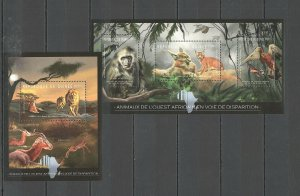 BC040 2012 GUINEA FAUNA EXTINCTION AFRICAN WILD ANIMALS 1KB+1BL MNH
