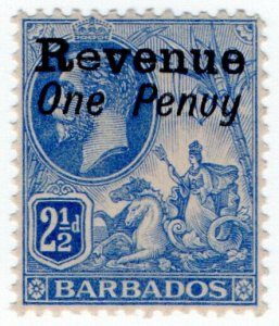 (I.B) Barbados Revenue : Duty Stamp 1d on 2½d OP (penuy variety)