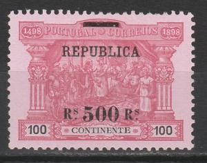 PORTUGAL 1911 REPUBLIC OVERPRINTED 500R ON 100R DA GAMA CALICUT