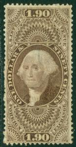 EDW1949SELL : USA 1863 Scott #R80 Used. VF except for thin in center. Cat $200.