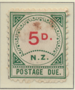 New Zealand Stamp Scott #J6, Unused, No Gum, Toning, Small D, Large NZ - ...