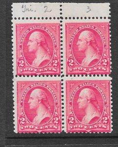 US # 266 1c Washington ,Carmine T 2-T3 block of 4  (MNH) CV $850.00