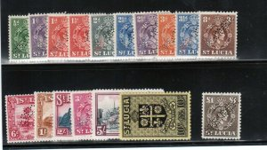 St Lucia #110s - #126s (SG #128s - #141s) Very Fine Mint Perforated Specimen Set