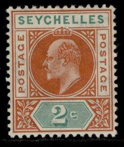 SEYCHELLES EDVII SG60, 2c chestnut & green, M MINT.