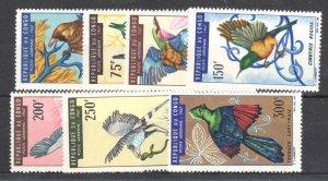 Congo PR C45-C51,MNH.Michel 116-122. Birds 1967.Weaver,Bee-eater,Roller,Cranes