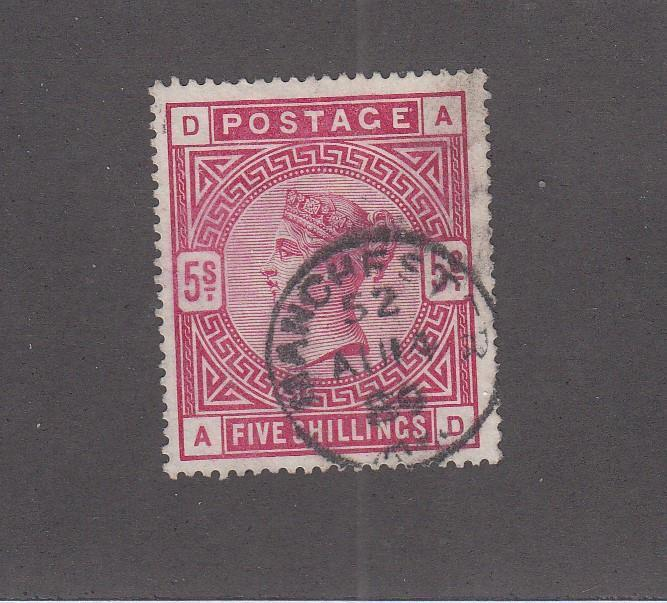 GB SG 180 SC # 108 VF-SUPERB SON MANCHESTER CANCELLED Q/VIC 5sh CAT VAL $250+